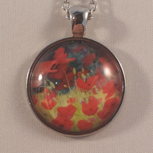 Silver Red Poppy Flower Glass Cabochon Necklace!